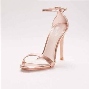 David's Bridal Larissa Rose Gold Strappy Heels